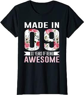10 Year Old Birthday Girl Born in 2009 10th Birthday Shirt