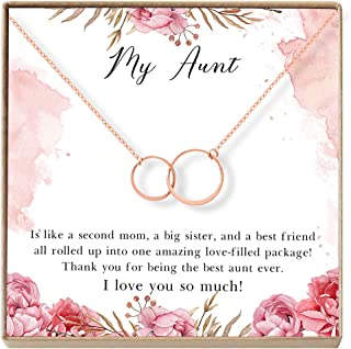 Aunt Gift Necklace: Auntie, New Aunt, Best Auntie Ever, My Aunt Loves Me, 2 Asymmetrical Circles