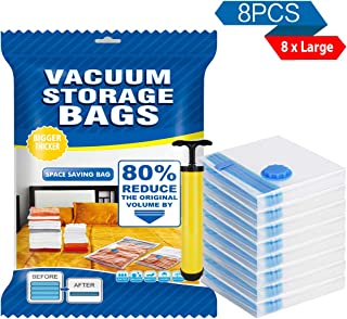 FABISON Vacuum Storage Bags Large 8 Pack for Clothes,Pillows,Blanket,Jackets with Travel Hand Pump Save Storage Space - Double Zip Seal Leak Valve