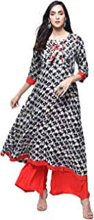 Zoeyams Womens Multicolored Rayon Printed Long Anarkali Kurta With Rayon Palazzo