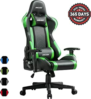 Muzii PC Gaming Chair for Pro,4-Color Choice PU Leather Racing Style Ergonomic Adjustable Computer Chair for Office or Game with Headrest and Lumbar Pillow for Adults and Teens (Green)