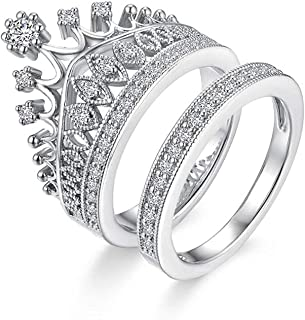 Impression Silver-Plated Stainless Steel Pattern Queen Crown Ring for Women
