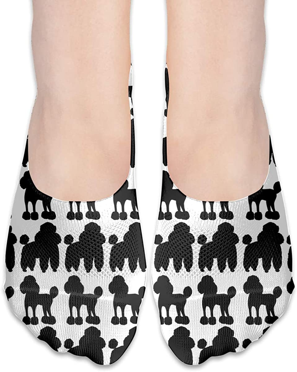 No Show Socks Hand Drawing Black White Poodle Cotton Thin Non Slip Low Cut Invisible Sock