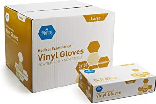 Medpride Medical Vinyl Examination Gloves (Large, 1000-Count) Latex Free Rubber | Disposable, Ultra-Strong, Clear | Fluid, Blood, Exam, Healthcare, Food Handling Use | No Powder