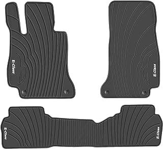 San Auto Car Floor Mat for Mercedes-Benz E-Class 2016-2017-2018-2019 Custom Fit Black/White,Rubber Auto Floor Mats All Weather, Heavy Duty & Odorless