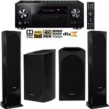 Pioneer VSX-832 5.1 Channel Network AV Receiver UHD Pass-through HDCP 2.2 Home Theater Bundle Including Andrew Jones Designed Bookshelf (Pair) & Floorstanding (Pair) Speakers