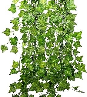 12本入り フェイクグリーン 人工観葉植物 アイビー 造花 藤 緑 壁掛け 葉 インテリア飾り ホーム オフィス ベランダ ガーデン 結婚式 パーティー 飾り 植物装飾(アイビーの葉) (Ivy)Deceny CB