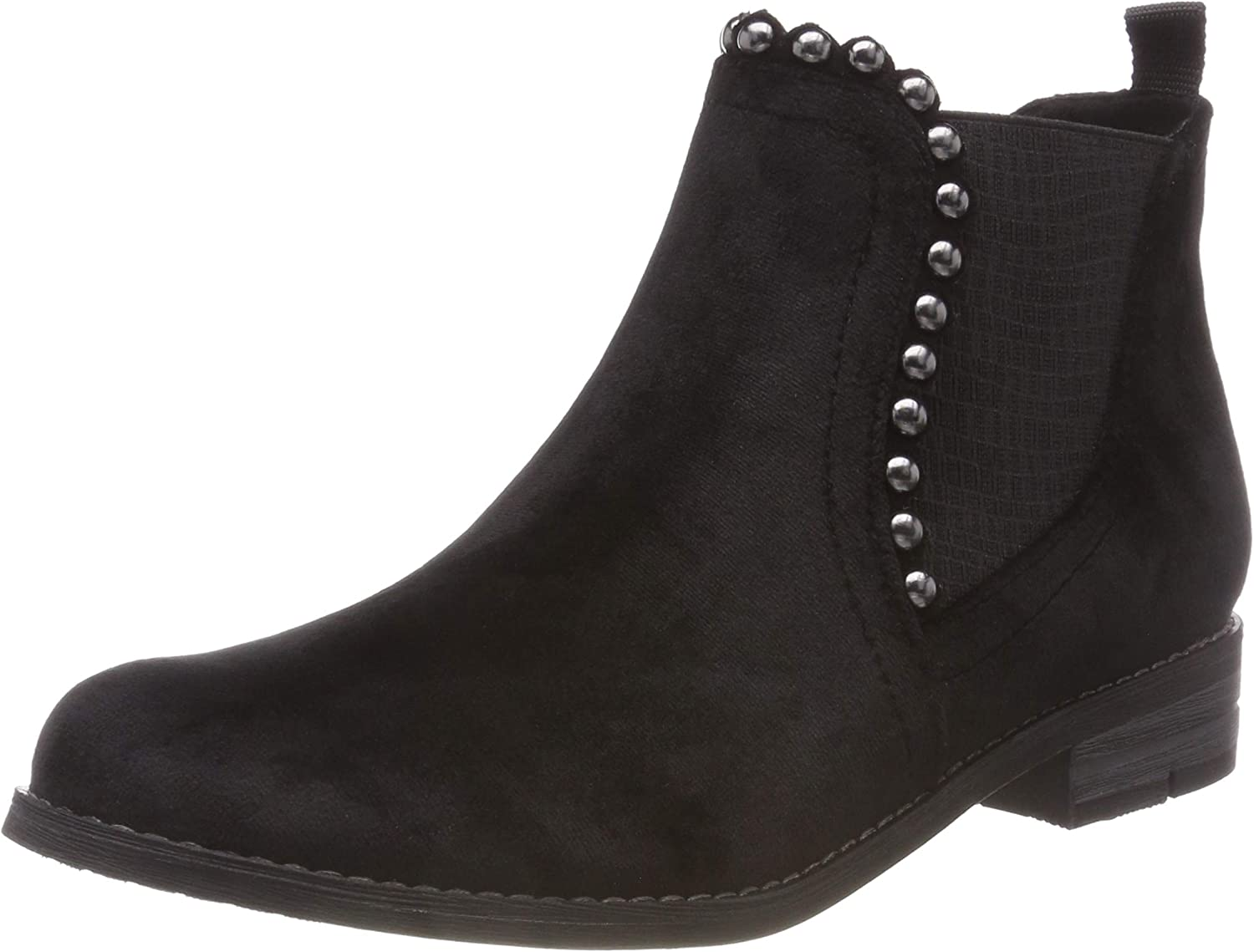 Marco Tozzi Women's Black Scallop Pearl Detail Low Heel Ankle Boot