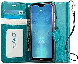 J&D Case Compatible for Huawei P20 Lite Case, [Wallet Stand] [Slim Fit] Heavy Duty Shock Resistant Flip Cover Wallet Case for Huawei P20 Lite Wallet Case - [NOT for Huawei P20 / P20 Pro] - Aqua