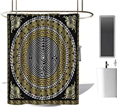 TimBeve Camper Shower Curtain Greek Key,Classical Pattern with Intricate Design Spiral Waves Frame and Maze,Pale Yellow White Black,for Bathroom Showers, Stalls and Bathtubs 72