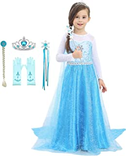 Sponsored Ad - Bestier Girls Princess Dress Costume - Birthday Party Dress Up for Toddler Girl (Blue, 4-5Years)