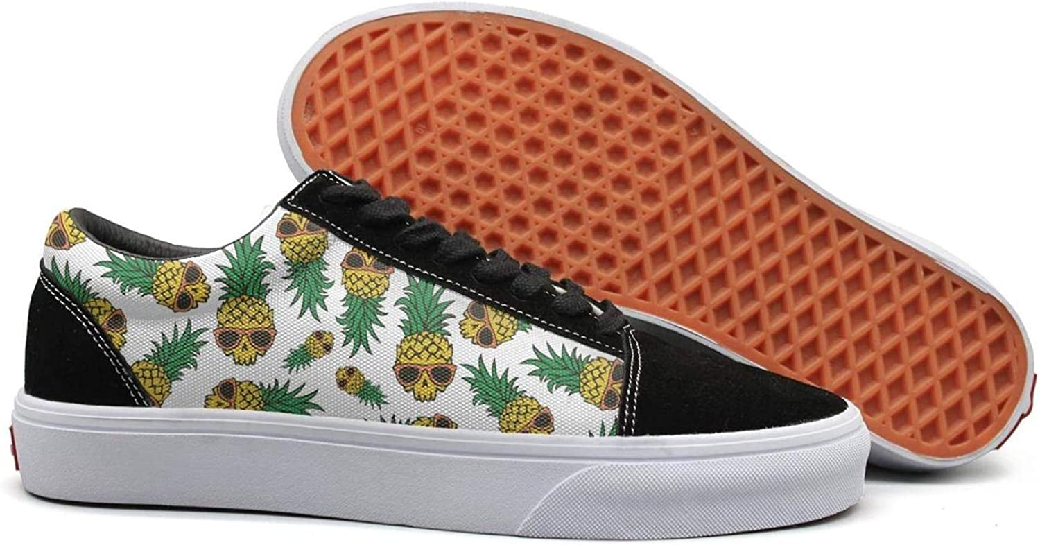 Uieort Pineapple Skull Print Supplies Womens Lace up Sneakers shoes Casual