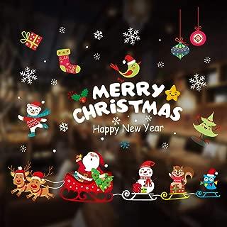 AivaToba Reindeer Sleigh Santa Christmas Window Cling, Xmas Snowman Wall Sticker Removable DIY Static PVC Snowflake Decal Window Decoration for Christmas Window Display