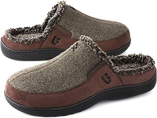 LongBay Men's Fuzzy Warm Slippers Memory Foam Indoor Outdoor House Shoes