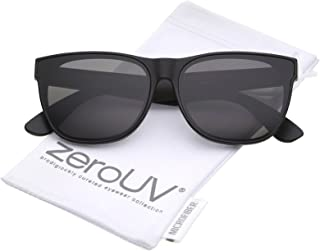 Retro Oversize Wide Temple Square Flat Lens Horn Rimmed Sunglasses 60mm