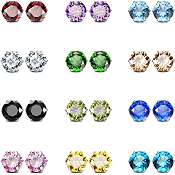 JewelrieShop Stud Earrings for Women Girl Stainless Steel Post Earrings Hypoallergenic CZ Birthstone Ear Studs Earings (12 Pair, 6mm)