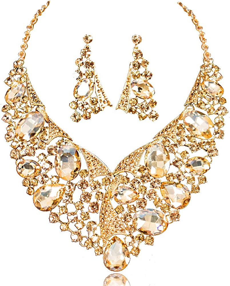 LAN PALACE 18K Gold Plated Statement Glass Rhinestone Bridal Jewelry Set Necklace and Earrings for Party