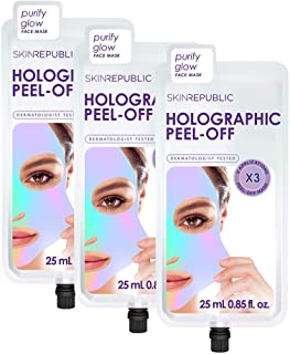Skin Republic Pink Holographic Peel Off Face Mask Sheet Removes Blackheads Dirt and Oil Brightens Skin 3 Masks Per Pack 3 ...