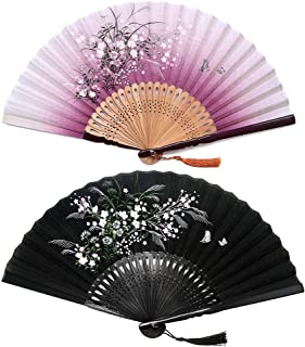 Sunnyac Hand Folding Fan, Japanese Bamboo, Fabric Handheld Fans in Delicate Box, Chinese Vintage Retro Style Handcrafted Fans and Patterns, Great Gift for Women, Girls (Type1)