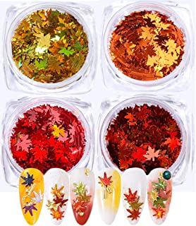 4 Boxes Fall Nail Sticker Decal DIY Colored Maple Leaf Sequins Laser Nails Art Glitters Thin Paillette Flakes Stickers Colorful Confetti Sticker Manicure Nail Art Supplies Christmas Nail Manicure Deca