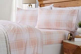 Great Bay Home Super Soft Extra Plush Plaid Fleece Sheet Set. Cozy, Warm, Durable, Smooth, Breathable Winter Sheets with Plaid Pattern. Dara Collection Brand. (Queen, Blush Pink)