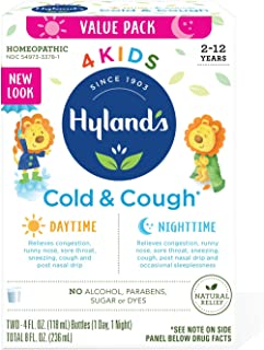 Kids Cold Medicine for Ages 2+, Hylands 4 Kids Cold 'n Cough, Day and Night Value Pack, Syrup Cough Medicine for Kids, Nas...