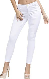 TENGFU Women's Juniors Skinny Jeans Mid-Rise Distressed Slim Fit Stretchy Jegging Denim Pants (10, White 014)