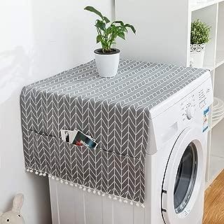 TXYFYP - Funda para Lavadora con Cierre de Cremallera para lavadoras con Carga Frontal, Lona Protectora para Lavadora Beige con Estampado de Corazones Blancos