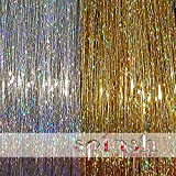 40 inch Hair Tinsel 200 Strands Two Colors : Sparkling Silver & Sparkling Gold
