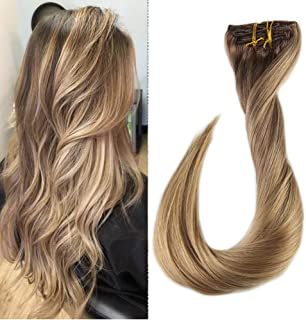 Full Shine 24 inch Thick Hair Extensions Double Wefted Clip in Human Hair Dip Dyed Balayage Color #10 Fading to #16 Highlighted Extensions Real Hair 9Pcs 120g Per Set