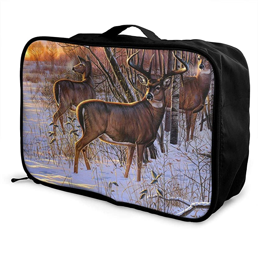 Travel Luggage Duffle Bag Lightweight Portable Handbag Deer Snow Print Large Capacity Waterproof Foldable Storage Tote