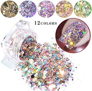 12 Boxes/set Nail Mermaid Glitter Flakes Sparkly 3D Hexagon Colorful Sequins Spangles Polish Manicure Nails Art Decorations