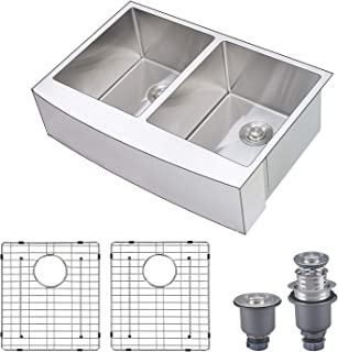 Primart 33 x 21 Inch Farmhouse Kitchen Sink Apron Curved Front 50/50 Double Bowls 16 gauge Stainless Steel