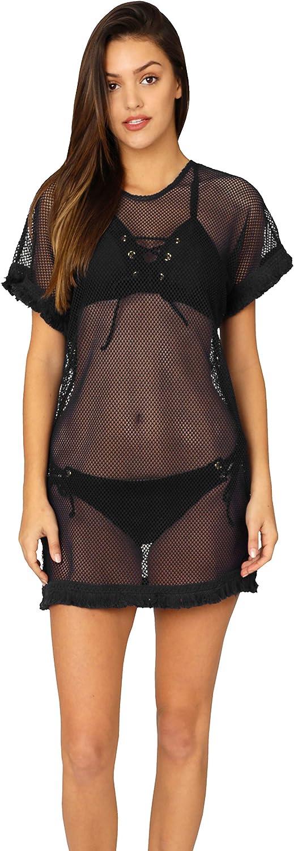 INGEAR Swimsuit Cover Ups Beach Bikini Bathing Suit Cover Up Crochet Fringe Trim Mesh Dress