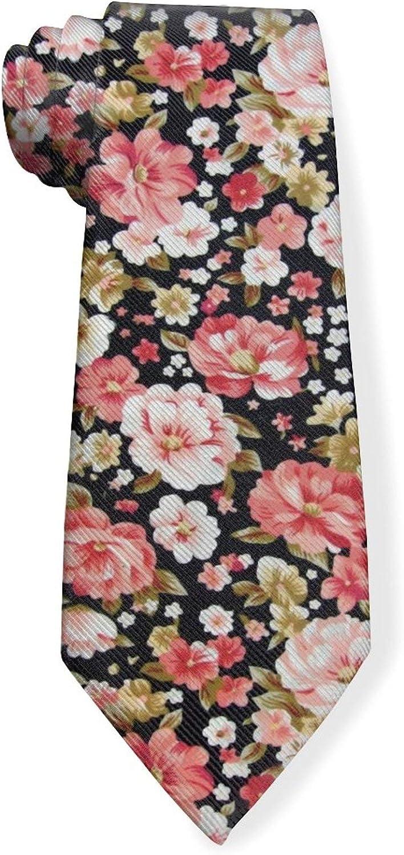 Floral Rose Print Mens Classic Color Slim Tie, Men's Neckties, Fashion Boys Cravats