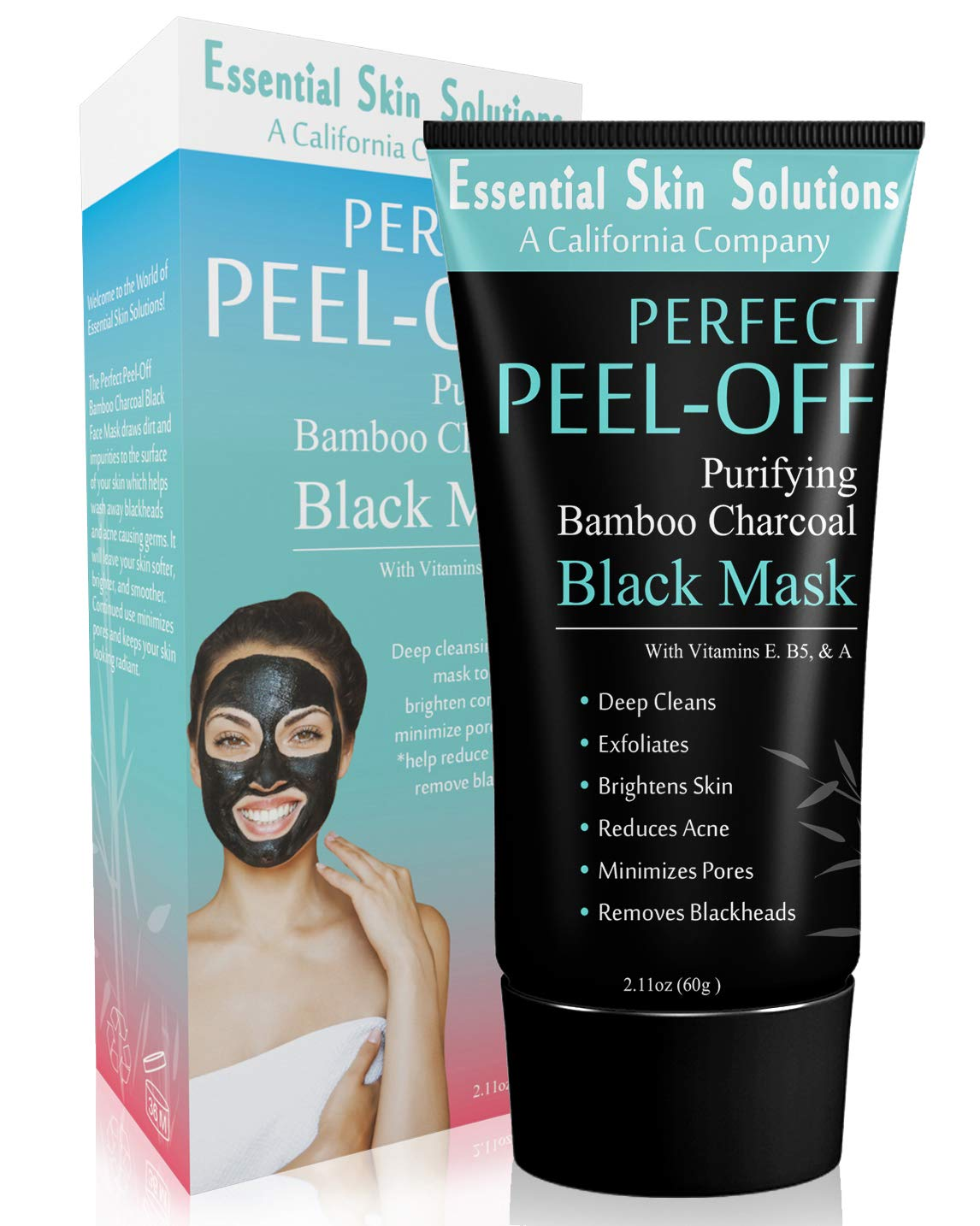 Charcoal Peel Off Face Mask - Blackhead Remover - Brightening & Exfoliating Facial Mask - Purifying Pore Minimizer - Bamboo Detox Peel Off for Smooth Clear Skin - Helps Reduce Acne & Dark Spots