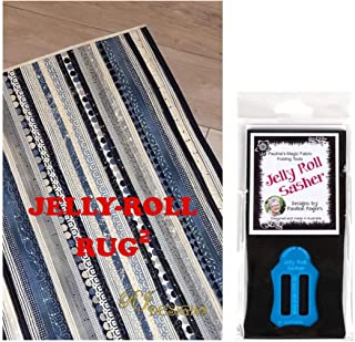 Jelly Roll Bundle: RJ Designs Jelly Roll Rug 2 Squared Pattern and Pauline's Quilters World Jelly Roll Sasher Tool