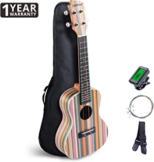 SANDONA Concert Ukulele 24 Inch Kit AR-1 | Sapele Solid Wood | Complete Concert Set with Strap, Premium Rainbow Strings, Digital Tuner and Gig bag | Accurate Tuning | Rainbow