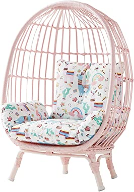 Handwoven Wicker on Steel Frame Kid's Egg Chair w/Reversible Cushion (Pink)