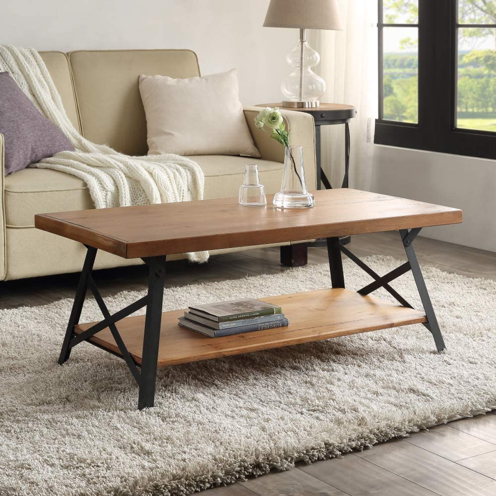 100% quality warranty! ROWEQPP 43'' Metal Legs Rustic Wood Import Coffee Solid Tabletop Table