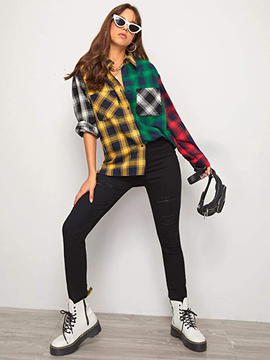 90s Clothing Outfits You Can Buy Now SweatyRocks Womens Long Sleeve Collar Long Button Down Plaid Shirt Blouse Tops  AT vintagedancer.com