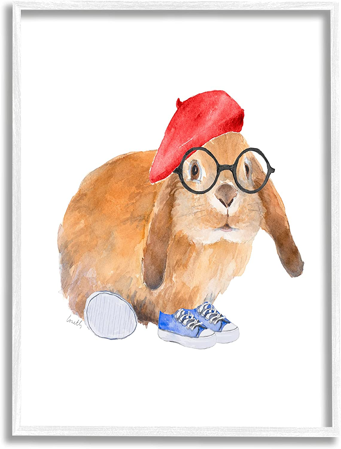 Stupell Industries Chic Bunny Rabbit Red Beret Hat Round Glasses, Designed by Lanie Loreth White Framed Wall Art, 24 x 30, Orange