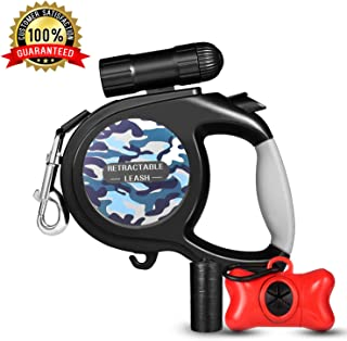 Retractable Dog Leash, Dog Walking Leash for Medium Large Dogs up to 110lbs, LED Light &Dog Waste Dispenser Bags Included, Tangle Free, One Button Break & Lock