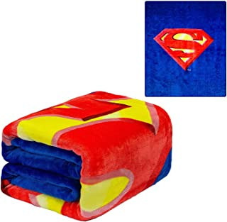 JPI DC Comics Superman Flannel Queen Plush Blanket - Superman Shield - Officially Licensed - Super Soft & Thick