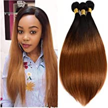 Ombre Brazilian Remy Hair 3 Bundles # 1b30 Straight 2-Tone Black to Blonde 300g Hair Extensions Bundles Straight Soft Ombre Weave 20 22 24 inch
