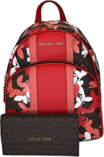 MICHAEL Michael Kors Abbey MD Backpack bundled with Trifold Wallet (Signature MK Brown/DK Sangria/Butterflies)