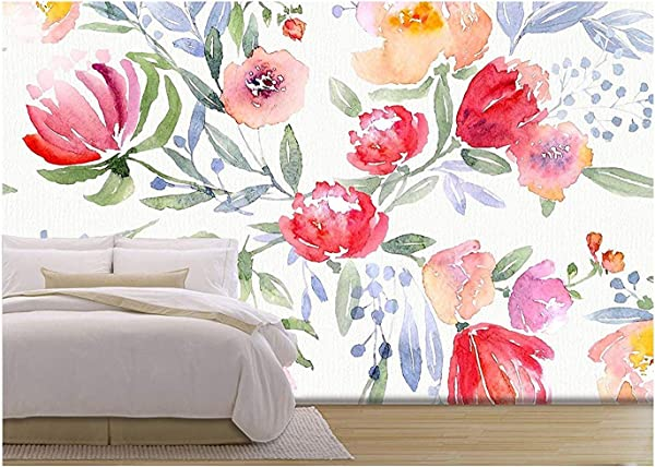 Wall26 Illustration Watercolor Floral Botanical Pattern And Seamless Background Removable Wall Mural Self Adhesive Large Wallpaper 100x144 Inches