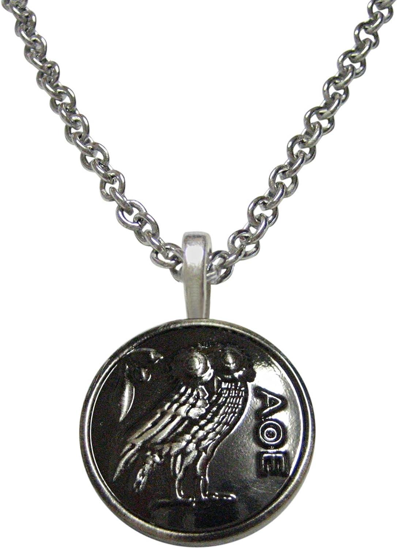 Kiola Designs Circular Owl of Athena Pendant Necklace