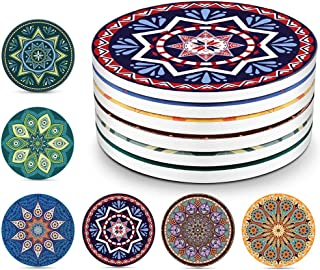 YISK Set of 6 Absorbent Ceramic Coasters with Cork Base,Prevent Furniture from Dirty and Scratched, for Drinks,Glass Cup H...
