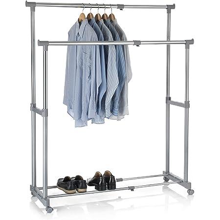 IDIMEX Portant à vêtements CASA en métal chromé et Gris, penderie Double sur roulettes vestiaire Mobile avec 2 Barres Hauteur et Longueur réglables
